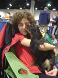 Maya and Karen at AKC Agility Nationals in January 2005
